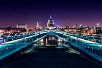 A view of St Paul's Cathedral across the Millennium Bridge